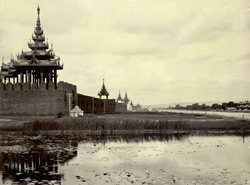 Another view [of the moat and Palace wall, Mandalay]